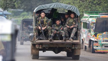 Philippine soldiers on the outskirts of Marawi city earlier this month.