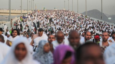 Hundreds of thousands of Muslim pilgrims make their way to cast stones at a pillar symbolising the stoning of Satan, in a ritual called 'Jamarat,' the last rite of the annual Haj, in Mina near the holy city of Mecca, Saudi Arabia.