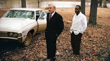 Untitled (the artist's uncle, Adyn Schuyler snr, with assistant and driver, Jasper Staples, in Cassidy Bayou, Sumner, Mississippi), (detail) 1969-70. Pigment print, printed 2016, 111.8 x 152.4cm. Courtesy the Eggleston Artistic Trust and David Zwirner, New York/London. Copyright  Eggleston Artistic Trust.