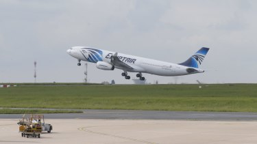 An EgyptAir plane takes off for Cairo from Charles de Gaulle Airport on Thursday.