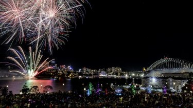The fireworks seen from Barangaroo park.