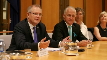 Scott Morrison and Malcolm Turnbull in discussions with the fintech industry in Canberra last month.