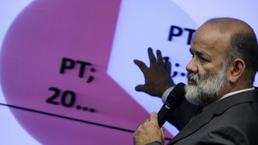 Brazil's Workers' Party Treasurer Joao Vaccari Neto speaks during a session of a parliamentary commission investigating allegations of corruption in Petrobras last week.