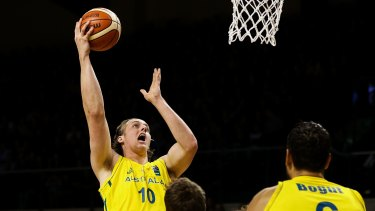 Green and gold pedigree: Cameron Bairstow shoots during game two of the series between the New Zealand Tall Blacks and Australian Boomers in August.