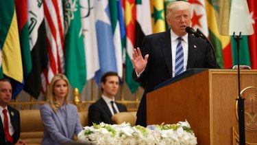 Donald Trump delivers his speech to the Arab Islamic American Summit in Riyadh, Saudi Arabia. Seated from left, White House Chief of Staff Reince Priebus, Ivanka Trump and her husband senior adviser Jared Kushner.