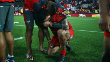 Devastation: Andrew Fifita's pain was there for all to see at fulltime.