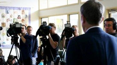 Opposition Leader Bill Shorten fronts the cameras in Glen Waverley.
