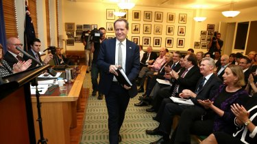 Opposition Leader Bill Shorten addresses Labor Caucus in the Opposition Party Room, at Parliament House.