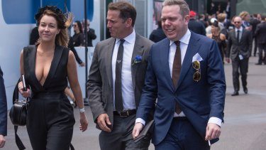 Olivia Wirth, Karl Stefanovic and Paul Howes in the Birdcage at Derby Day at Flemington.