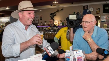Barnaby Joyce back on the campaign trail following the High Court ruling.