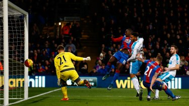 Rout: Yannick Bolasie scores his team's fourth goal during the Premier League match between Crystal Palace and Newcastle United.