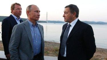 Aras Agalarov, right, with Russian President Vladimir Putin and Kremlin chief manager Vladimir Kozhin in Vladivostok in 2012.
