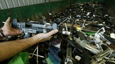Guns seized in a recent federal government gun amnesty.