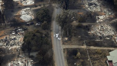 An aerial shot of the devastation in Marysville two days after Black Saturday.