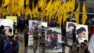 The funeral march of assassinated Hezbollah leader Imad Mughniyah. His image is carried alongside those of Shiite clerics Ayatollah Ruhollah Khomeini, Musa Sadr and Ragheb Harb.