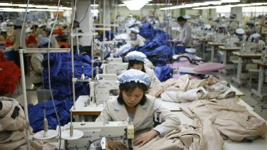 A file photo of North Korean workers assembling jackets at a factory of a South Korean-owned company at the jointly-run Kaesong industrial complex in North Korea.