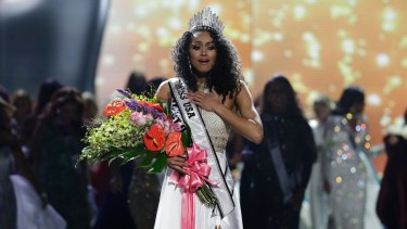 Kara McCullough after she was crowned the new Miss USA in Las Vegas.