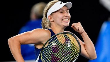 Australia's Daria Gavrilova celebrates after defeating Switzerland's Timea Bacsinszky in their third round match at the Australian Open.