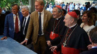 Sean Godsell (centre) with Vatican officials at the opening of his contribution to the Venice Architecture Biennale.
