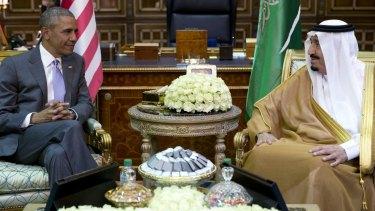 President Barack Obama and Saudi Arabia's King Salman at the Erga Palace in Riyadh.