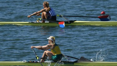 Kimberley Brennan of Australia competes in the Women's Single Sculls final.