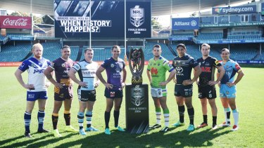 The NRL finals captains were in Sydney on Monday to launch the play-offs.