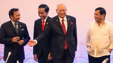 From left, Sultan Hassanal Bolkiah of Brunei Darussalam, Indonesian President Joko Widodo, Malaysian PM Najib Razak and Philippine President Rodrigo Duterte at the ASEAN meeting on Saturday.