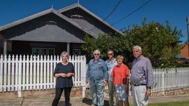 Merri Southwood (second from right) with other residents concerned about the prospect of houses being demolished in St Leonards South to make way for apartment towers.