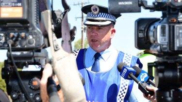 Superintendent Peter McKenna addressing media after the fatal crash.