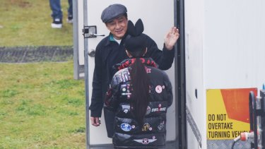 Jackie Chan on set of the sci-fi action thriller <i>Bleeding Steel</i> at Moore Park.
