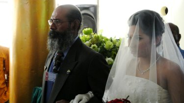 West Papuan independence leader Filep Karma, who was allowed out of prison for a day to give his daughter away at her wedding in Jayapura in November 2014.