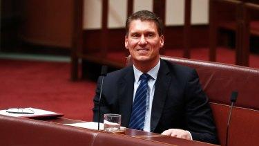 Senator Cory Bernardi during a division in the Senate on Thursday.