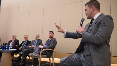 """Discussion panellists Peter Brimelow, Jared Taylor, Kevin MacDonald, """"Millenial Woes"""" and Richard Spencer field questions at an """"alt-right"""" conference hosted by the National Policy Institute think tank in Washington, DC on November 18."""