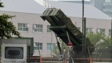 A PAC-3 Patriot missile unit deployed in the compound of the Defense Ministry in Tokyo, after North Korea announced a detailed plan to launch a volley of ballistic missiles over Japan and towards the US Pacific territory of Guam.