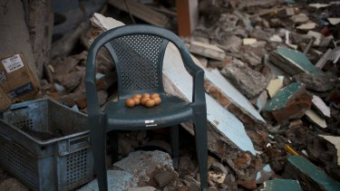 Eggs sit on a chair one week after Ecuador's earthquake.