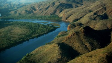 The argyle river, hidden valley, in Mirima national park in the East Kimberley region of Western Australia.