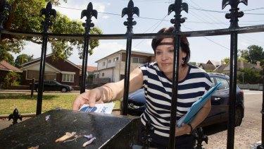Popular: Jodi McKay hits the letterboxes of Strathfield on Sunday.