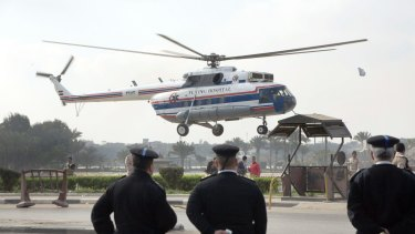 A helicopter ambulance as it takes off carrying Hosni Mubarak from Maadi Military Hospital to the court on Thursday.