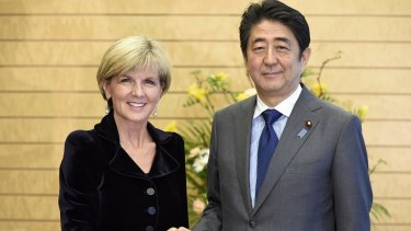Australian Foreign Minister Julie Bishop received met Japanese Prime Minister Shinzo Abe in Tokyo on Tuesday where they discussed tension in the South China Sea and on the Korean peninsula.
