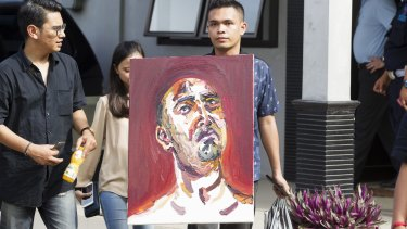 A self portrait by Myuran Sukumaran is taken to Wijaya Pura in Cilacap.