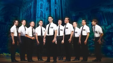 Ryan Bondy (centre) as Elder Price, AJ Holmes (far right) as Elder Cunningham and company in <i>The Book of Mormon</i>.
