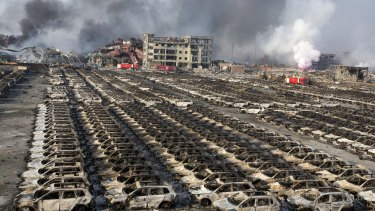 The site of the Tianjin explosion.
