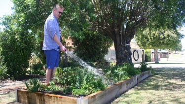 Cr Cornish with his verge garden.
