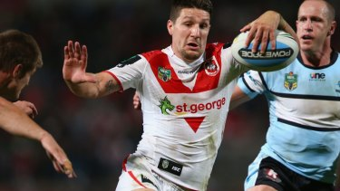 Believer: Widdop makes a break against the Sharks in round 12.
