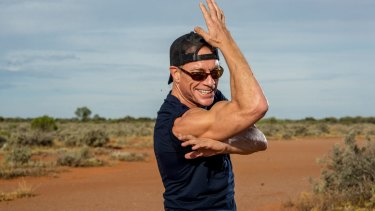 Jean-Claude Van Damme squares up in desert outside Broken Hill.
