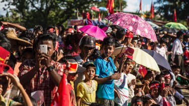 National League for Democracy supporters in Rakhine state in 2015.