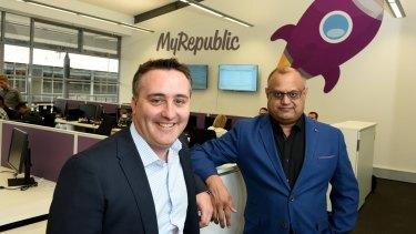 MyRepublic Australia's Managing Director Nicholas Demos and CEO Malcolm Rodrigues in their Sydney office.