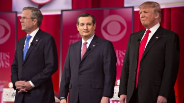 2016 Republican Presidential candidates (from left): Jeb Bush, Senator Ted Cruz and Donald Trump at the start of the latest Republican presidential candidate debate on Saturday.