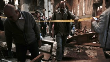 The scene inside the church after Sunday's blast.