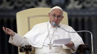 Pope Francis delivers his blessing in St Peter's Square on Wednesday.